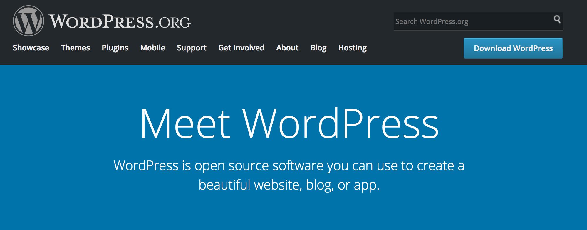 Skjermbilde av Wordpress-hjemmesiden